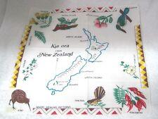 Vintage Hankie Kia Ora From New Zealand Birds Flowers Maori Weaving Patterns
