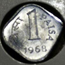 India Republic  One  Paisa 1968 C metal clip error coin. B UNC