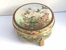 Superb Satsuma Lidded Round Box, Hand Painted, c. 1930's