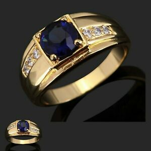 Men's Womens 18k yellow gold filled simulated blue sapphire ring, VARIOUS SIZES
