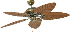 Tropical ceiling fan with pull cord DOWNUNDER Antique brass 132 cm 52""