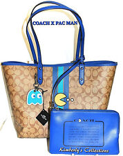 COACH X PAC MAN LTD Signature Stripe Reverse Tote Bag, Makeup Pouch & Key Chain!