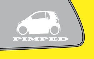 2x PIMPEDered Smart Fortwo w451 2nd gen fukn low sticker smart car decal LR372