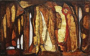 JOAN BECK (1916-) RARE Oil Meditation 1964 Abstract Mid Century Modern Retro