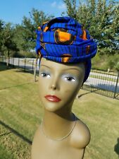 Blue And Orange Headwrap;African Headwrap; African Clothing; African Fabric
