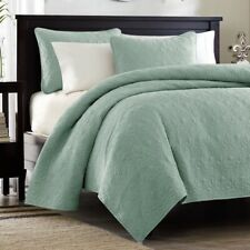 Twin Xl Full Queen King Size Solid Seafoam Green Coverlet Quilt 3 pc Set Blanket