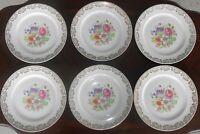 Set of 6 Vintage Stetson China 10-1/4 Inch Dinner Plates Floral 22Kt Gold Flower