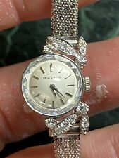 Vintage 18 K White Gold And Diamond Ladies Movado Wrist Watch 17 Jewel Wind Up