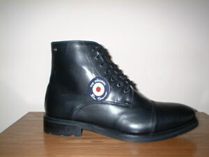 MENS BEN SHERMAN BLACK LEATHER   MILITARY COMBAT  BOOTS SIZE 10/44 RRP £109.99