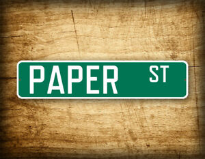 """Fight Club Movie Prop 4""""x18"""" Green Street Sign """"Paper St"""" Novelty Road Sign"""
