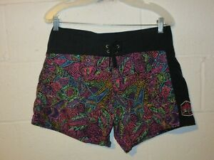 Vintage Women's Neon Allover Print Fish Body Glove Board Shorts Large