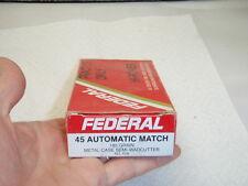 VINTAGE  FEDERAL .45  AUTO 185 GRAIN MATCH AMMO BOX
