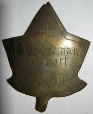 "Ww1 Cef Hat Badge - Theater Made - 58th Battalion ""Pte. F.W. Gurman"""