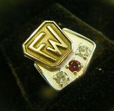 FW 12mm Vintage 1950s 10k White & Yellow Gold Award Tack Pin 1.7g Diamonds Ruby