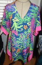fa4fd5d75659 Lilly Pulitzer Julie Caftan Mini Dress Silk Indigo All a Glow L XL HTF