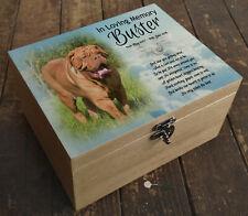 Wooden box casket urn cremation,memory keepsake, Dog De Bordeaux