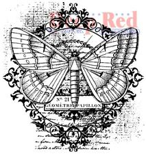 Deep Red Stamps Butterfly Flourish Rubber Cling Stamp