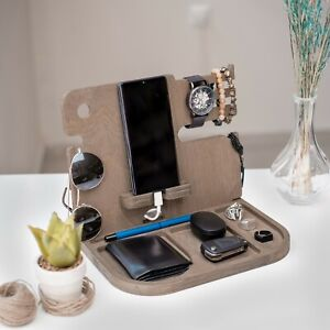 Wooden Docking Station, Phone Holder, Wood Organizer, Wallet Key jewelry Stand