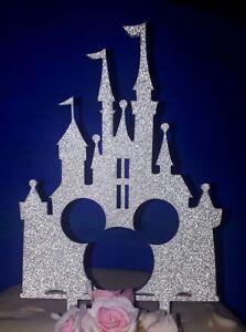Glitter Acrylic Disney princess mickey castle wedding cake topper decorations