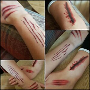 HALLOWEEN Fancy Dress Make Up  FX SCARS WOUNDS Cuts Fake Blood Horror Tattoo Tat
