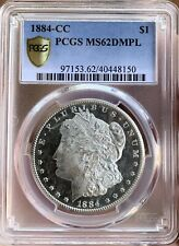 1884 CC MORGAN SILVER DOLLAR DMPL! *GOLD SHIELD*PCGS**MS62DMPL*UDM