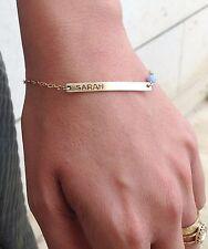 Personalized Bar Bracelet Gold Filled 14k Opal Bead Custom Bracelet Name Bar
