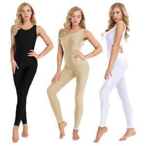 Adult Womens Bodysuit Stretchy Tank Unitard Yoga Dance Leotard Catsuit Jumpsuit