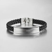 Silver bracelet Genuine Leather Chain stainless steel name tag