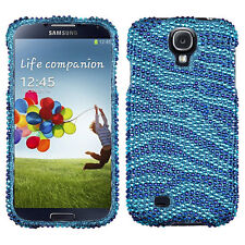 Samsung Galaxy S4 S IV Crystal Diamond BLING Case Snap On Phone Cover Blue Zebra