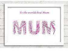 Personalised Mum Word Art Mum Mummy Mom Gift Christmas Present day For Her xmas