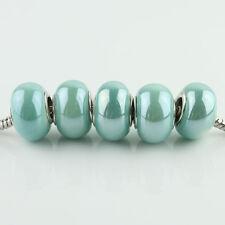 Shiny Ceramics Porcelain Silver Spacer Charm Beads Fit European Bracelet Lots
