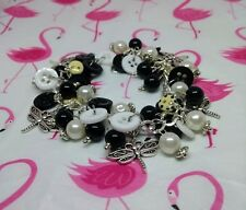 Button, bead & charm bracelet Black, white & cream polka dot, silver charm retro