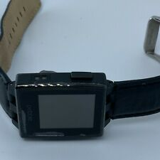 Pebble Steel Smartwatch 401S with heavy leather band,for parts *read* model 401b