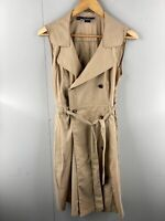 Basque Womens Sleeveless Button Up Trencoat Dress with Belt Size 12 Petite Brown