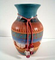 Vintage Navajo Etchware Jug Vase Signed S Benally with Original Bead Lariat