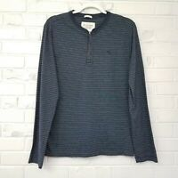 Abercrombie & Fitch Muscle Blue Knit Long Sleeve Stripe Shirt Men's Medium EUC
