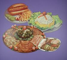 Original 1950s American Diner Paper Die Cut Signs - Deli / Food Platter - Lot A