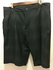BURNSIDE Board Shorts Zipper Pocket Dark Green Stripe Checker 32