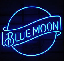 Blue Moon Beer Pub Bar Real Glass Handmade Neon Light Sign 17''X14""