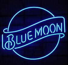 "Blue Moon Beer Pub Bar Real Glass Handmade Neon Light Sign 17''X14"""