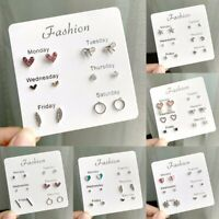 6 Pair/Set Fashion Rhinestone Crystal Pearl Earrings Women Ear Stud Jewelry Gift