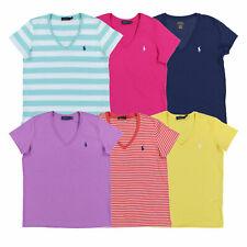 Ralph Lauren Womens T-рубашка Джерси футболка V-образным вырезом топ пони с логотипом Xs S M L Xl новый с ценниками