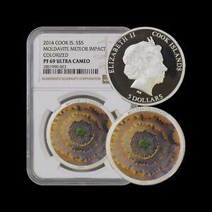 2014 Cook Islands 5 Dollars (Silver) - NGC PF69 UC - Moldavite Meteor RARE