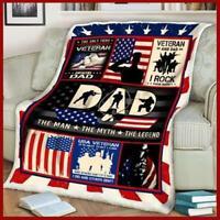 Veteran Dad - The Man The Myth The Legend Sofa Fleece Blanket 50-80