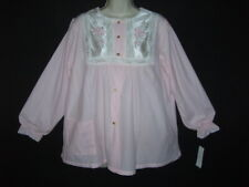 *Nwt* Vtg Soft Brushed Flannel Girly Pink Satin Trim Sexy Babydoll Nightgown M