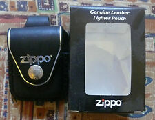 ZIPPO BLACK LEATHER POUCH WITH BELT LOOP FREE P&P