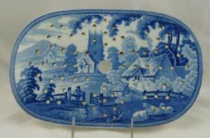Antique Transferware Blue Transferware Strainer Pastoral Scene