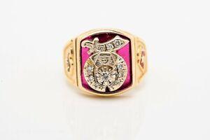Shriners Diamond & Ruby Signet Ring, 10k Yellow gold, Size 10