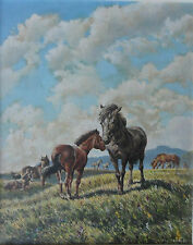 ERIC TANSLEY 1916-1979 FINE ORIGINAL SIGNED OIL ON CANVAS 'PONIES ON THE MOOR'
