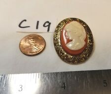 Vtg Cameo Old Celluloid Coral Cream Brooch Antique Gold Brass Rare Back Jewelry